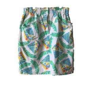 Vintage 80s 90s White Tropical Mini Skirt M